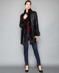 The Fur Vault Rabbit Fur Trimmed Whipstitched Leather Coat Black Black Brown