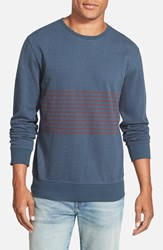 Men's Rvca 'Crucial Sin Stripe' French Terry Crewneck Sweater Midnight