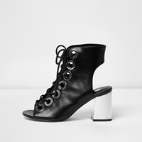 River Island Womens Black Metallic Heel Lace Up Shoe Boots