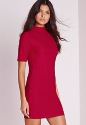Missguided High Neck Short Sleeve Bodycon Dress Red Red
