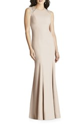Dessy Collection Lace Back Crepe Gown Cameo
