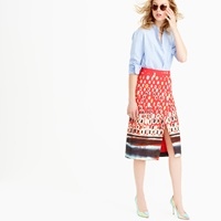 J.Crew Collection Faux Wrap Skirt In Watercolor Mosaic