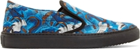 Marcelo Burlon Blue And Brown Snake Print Slip On Sneakers