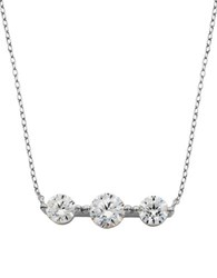 Lord And Taylor Cubic Zirconia Horizontal Pendant Necklace Silver