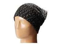 Plush Fleece Lined Ombre Dot Beanie Black White Beanies