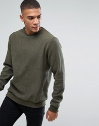 Bellfield Ribbed Sweatshirt Dark Khaki Green