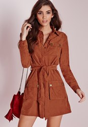 Missguided Faux Suede Double Pocket Shirt Dress Rust Brown