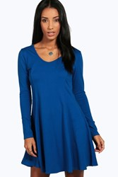 Boohoo Seam Detail Long Sleeve Skater Dress Royal