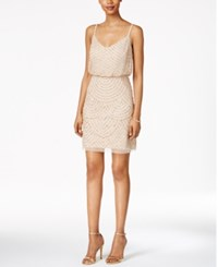 Adrianna Papell Beaded Blouson Dress Champagne Gold