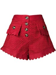 Self Portrait Crochet Shorts Red