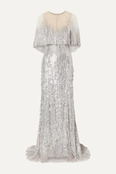 Monique Lhuillier Layered Embellished Tulle Gown Silver
