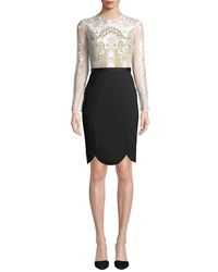 Catherine Deane Latisha Long Sleeve Dress W Lace And Ponte White Black