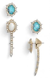 Alexis Bittar Women's Bittars Set Of Ear Jacket And Stud Earrings Silver Turquoise