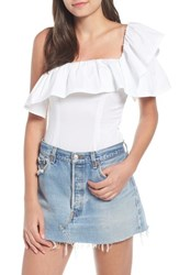 Kendall Kylie One Shoulder Bodysuit Bright White