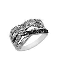 Lord And Taylor Black White Diamond Ring In Sterling Silver 0.38 Ct. T.W.
