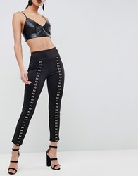 Club L Jegging Trousers With Eyelet Detail Black