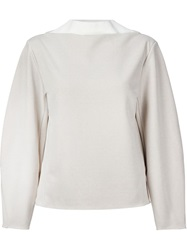 Toga Pulla Contrast Collar Blouse Nude And Neutrals