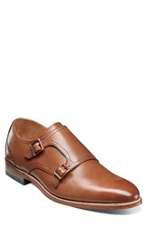 Stacy Adams M2 Plain Toe Double Strap Monk Shoe Cognac Leather