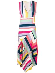 Paul Smith Ps Striped Asymmetric Dress White