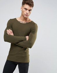 Asos Extreme Muscle Long Sleeve T Shirt With Boat Neck In Green Avocado