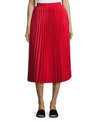 Balenciaga Accordion Pleated Midi Skirt Red