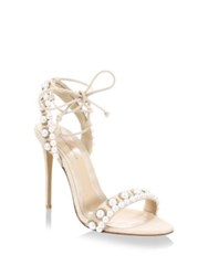 Monique Lhuillier Reese Pearl Embellished Suede Ankle Tie Sandals Nude