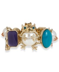 Betsey Johnson Gold Tone Multi Charm Faux Pearl And Stone Stretch Bracelet