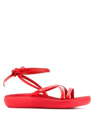 Ancient Greek Sandals Wrap Tie Ankle Red