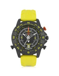 Nautica Nsr 103 Tide Compass Black Stainless Steel Case And Yellow Rubber Strap Men's Watch