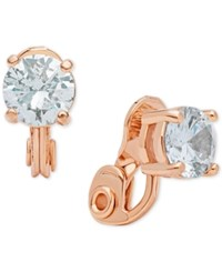 Anne Klein Crystal Solitaire Clip On Earrings Rose Gold