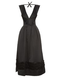 Rochas Embellished Satin Dress Black