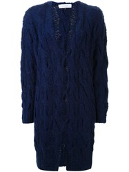 Le Ciel Bleu Long Cable Knit Cardigan Blue