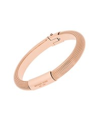 Michael Kors Cubic Zirconia And Rose Goldtone Stainless Steel Ridged Bangle Bracelet