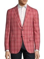 Isaia Regular Fit Plaid Wool Jacket Dark Red