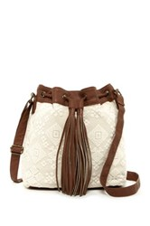 T Shirt And Jeans Lace Drawstring Crossbody White
