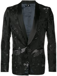 Christian Pellizzari Embroidered Suit Jacket Black