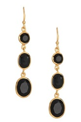 Argentovivo 18K Gold Plated Sterling Silver Black Onyx Triple Drop Earrings Metallic