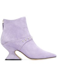 Dorateymur Sculpted Heel Boots Leather Suede Pink Purple