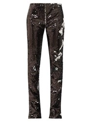Marques Almeida Marques'almeida Two Way Sequinned Bootcut Trousers Silver