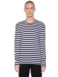 Comme Des Garcons Striped Cotton Jersey T Shirt