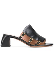 L'autre Chose Buckled Mules Black