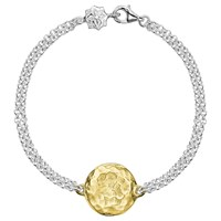 Dower And Hall Engravable Cherish The Moment Disc Double Chain Bracelet Gold