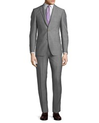 Michael Kors Slim Fit Neat Herringbone Two Piece Suit Light Gray