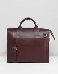 Kiomi Leather And Canvas Satchel In Brown Dark Chocolate