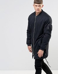Bellfield Two Way Zip With Longline Parka With Dove Tail Black