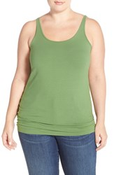 Plus Size Women's Sejour New Slim Strap Tank Green Willow
