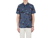 Paul Smith Ps By Men's Multi Print Cotton Shirt Blue