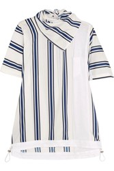 Sacai Striped Linen Blend And Slub Jersey T Shirt White