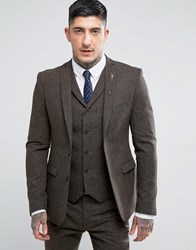 Rudie Wool Super Skinny Suit Jacket Brown