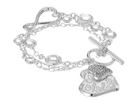 Guess Logo Heart Toggle Line Bracelet Shiny Silver Crystal Bracelet